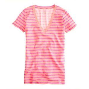 J Crew Cotton Tee - Pink Striped